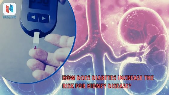 How does diabetes increase the risk for kidney disease?